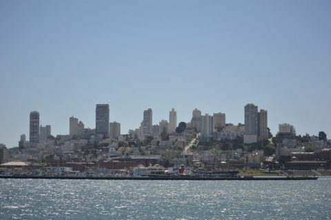 Pier 39, Golden Gate Bridge and Alcatraz Island, SFO, CA.